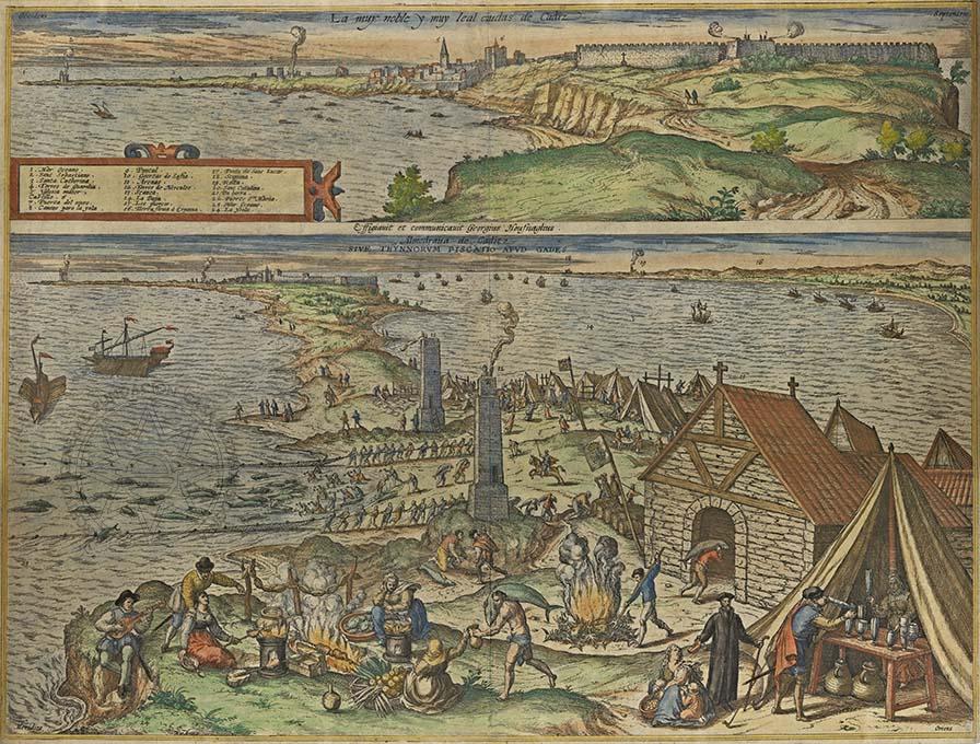 grabado puerto cadiz juan alvarez colmenar andalucia granada delicias españa portugal 1715
